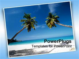 PowerPoint template displaying beautiful depiction of beach scenery with two palm trees sandy beach and ocean sea