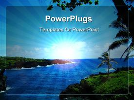 PowerPoint template displaying depiction of sea water and beautiful island with palm trees and clear sky with focus on sun rays