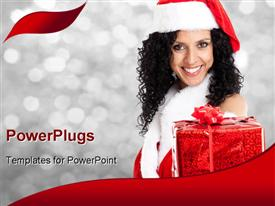 PowerPoint template displaying beautiful Christmas girl giving you a gift