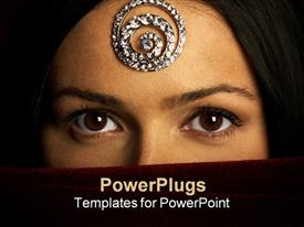 PowerPoint template displaying a beautiful girl with a veil on her face