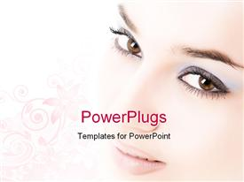 PowerPoint template displaying close-up of beautiful face in the background.