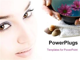 PowerPoint template displaying pair of female hands gently cupping a bowl of floral scented aromatherapy water with pebbles