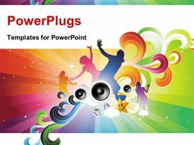 PowerPoint template displaying party depiction with people dancing over colorful background and speakers