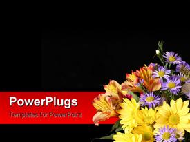 PowerPoint template displaying beautiful flowers in right bottom corner over black background