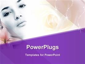 PowerPoint template displaying close up of beautiful face with pink flowers on purple themed background