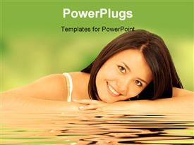 PowerPoint template displaying a pretty smiling lady lying on a reflective surface