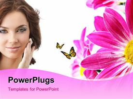 PowerPoint template displaying a beautiful girl with a number of flowers