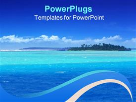 PowerPoint template displaying beautiful lagoon in the pacific and blue sky