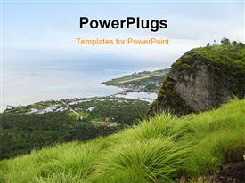 PowerPoint template displaying overview from a top of a mountain in one province of the Philippines in the background.