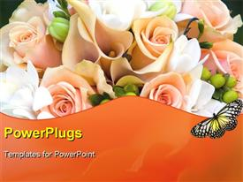 PowerPoint template displaying a number of roses with blackish background