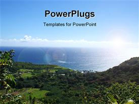 PowerPoint template displaying blue cloudy sky with scenery of Hana Highway in Maui