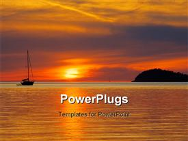 PowerPoint template displaying sunset from the San Juan Islands in Washington State