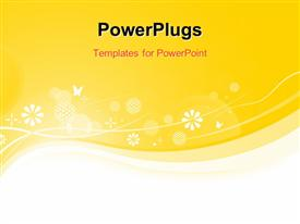 PowerPoint template displaying abstract background with snowflakes and butterflies on yellow surface