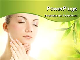 PowerPoint template displaying a pretty lady with her eyes closed and some green leaves