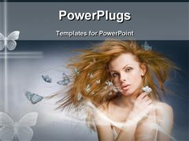 PowerPoint template displaying beautiful blonde lady with white butterflies over grey background