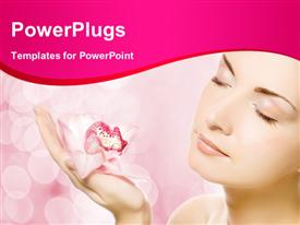 PowerPoint template displaying beautiful young woman with pink orchid over abstract blurred background