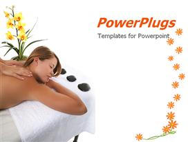 PowerPoint template displaying a pretty lady having a massage on a white background
