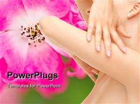 PowerPoint template displaying beautiful girl with pink flower on green background
