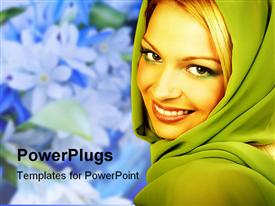 PowerPoint template displaying a beautiful girl smiling with flowers in the background