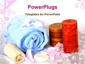 PowerPoint template displaying spa accessories, blue towel, soap with candles on abstract background