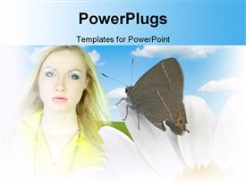 PowerPoint template displaying beautiful lady with a butterfly perching on a white flower