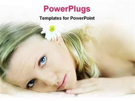 PowerPoint template displaying pretty female lying and staring with a white flower in her hair