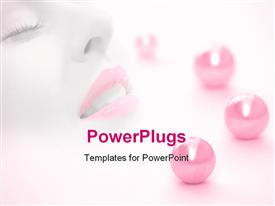 PowerPoint template displaying a female with pink lipstick along with pink balls