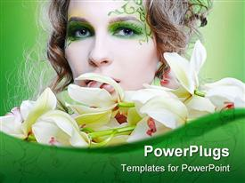 PowerPoint template displaying beautiful lady with green face art surrounded by white flowers
