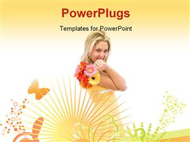 PowerPoint template displaying a beautiful girl with yellowish background