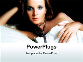 PowerPoint template displaying a beautiful lady with expensive jewelry