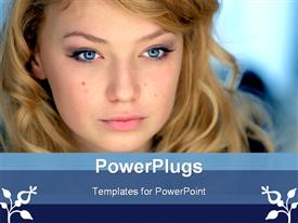 PowerPoint template displaying beautiful young girl