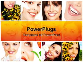 PowerPoint template displaying twelve depictions of happy smiling women with flowers, white teeth smiles