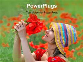 PowerPoint template displaying a lady plucking a bunch of red colored flowers
