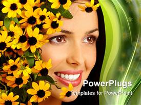PowerPoint template displaying smiling woman face with yellow flowers, white teeth, woman face close up