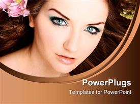 PowerPoint template displaying beautiful young woman with blue eye makeup, pink flower in hair, beauty, cosmetics, salon