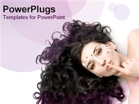 PowerPoint template displaying beauty queen with amazing curly hair on purple background