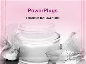 PowerPoint template displaying jar moisturizing beauty cream with white flowers