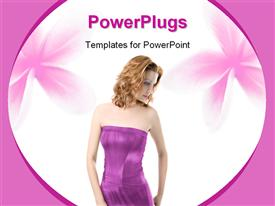 PowerPoint template displaying fashion beauty concept with beautiful woman in purple dress