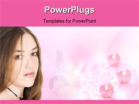 PowerPoint template displaying a girl looking in front with pinkish balls in the background