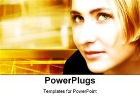 PowerPoint template displaying blond Woman On Digital Movement Background