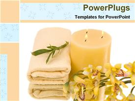PowerPoint template displaying bunch of flowers with candle and towel