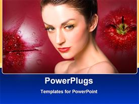 PowerPoint template displaying beauty model woman with make up and red lipstick on flower background
