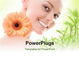 PowerPoint template displaying beautiful young lady smiling with flowers and green field in background