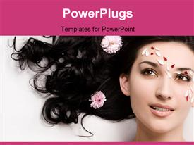 PowerPoint template displaying a girl being happy as the petal fall on her face