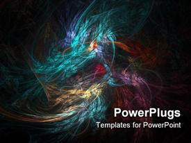 PowerPoint template displaying abstract blend of colors, swirling colors combining on black background