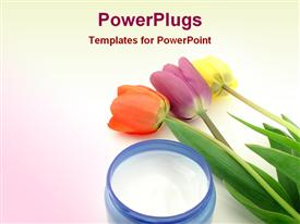 PowerPoint template displaying red, purple, and yellow tulips next to jar of moisturizing cream