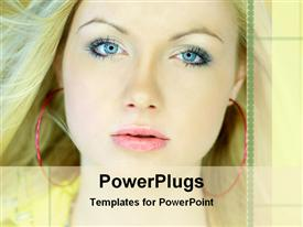 PowerPoint template displaying a beautiful girl with place for text