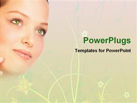 PowerPoint template displaying a beautiful girl with green eyes
