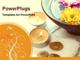 PowerPoint template displaying two lit candle stands and ceramic bowl filled with flower