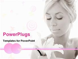 PowerPoint template displaying serene looking lady holding white flower in white background
